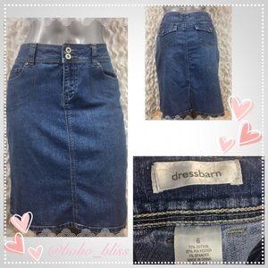 DRESS BARN   Knee Length Denim Blue Jean Skirt